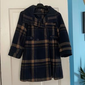 Navy + tan plaid pea coat / needs TLC